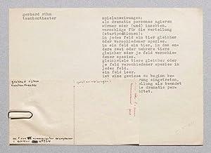 taschentheater. - Typoskript, handschriftlich datiert und mit Ergänzungen auf 2 Blättern.: Rühm, ...