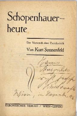 Schopenhauer - heute. Der Versuche iner Zeitkritik.: Sonnenfeld, Kurt: