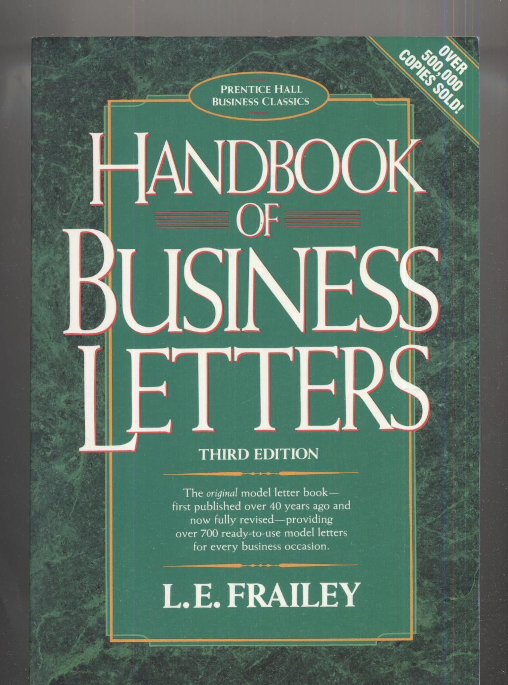 Handbook Of Business Letters By L E Frailey Prentice Hall