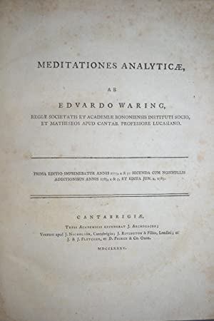 Meditationes analyticae.: WARING, Edward;