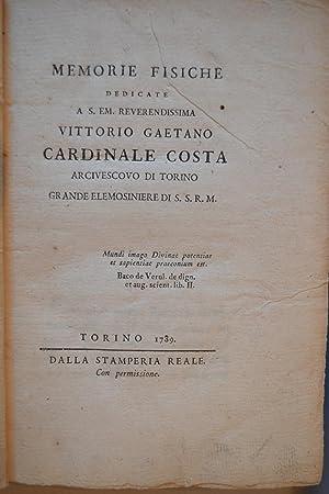 Memorie fisiche.: VASSALLI-EANDI, Antonio Maria;