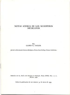 Notas Acerca de los Mamiferos Mexicanos: Ingles, Lloyd G.