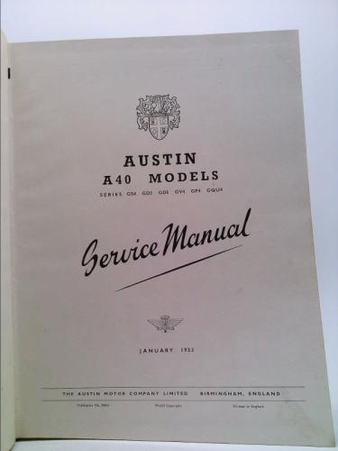 Austin A40 Service Manual By Austin Motors  Good Hardcover