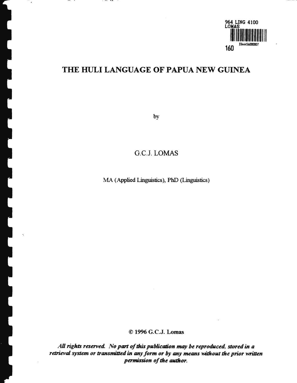 The Huli Language of Papua New Guinea