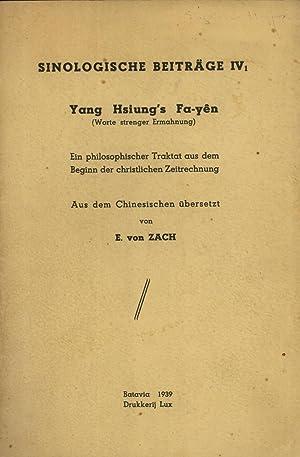 Yang Hsiung's Fa-yên (Worte Strenger Ermahnung): Ein Philosophischer Traktat Aus Dem ...