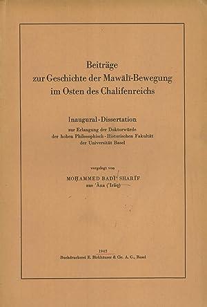Beiträge zur Geschichte der Mawali-Bewegung im Osten des Chalifenreichs: ...