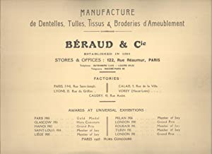 Manufacture de Dentelles, Tulles, Tissus & Broderies d'Ameublement. Curtains, Blinds, ...