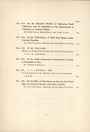 Reports of the Aeronautical Research Institute, Tokyo Imperial University. Vol. VIII; Nos. 97-108 (...