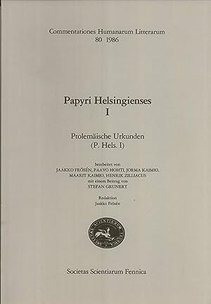 Papyri Helsingienses I: Ptolemäische Urkunden (P. Hels. I) (Commentationes Humanarum ...