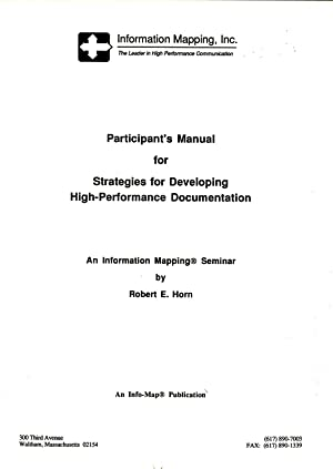 Participant's Manual for Strategies for Developing High-Performance Documentation: An ...