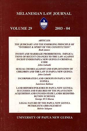 Melanesian Law Journal, Volume 29 (2003-2004): Rudi James; John
