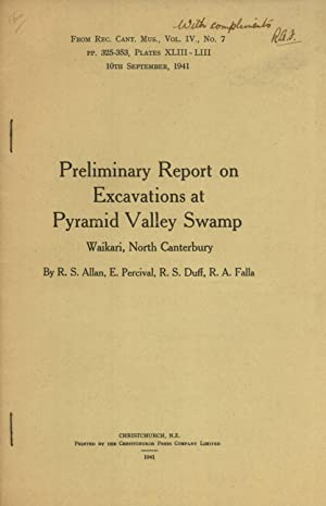 Preliminary Report on Excavations at Pyramid Valley Swamp Waikari, North Canterbury (Records of the...