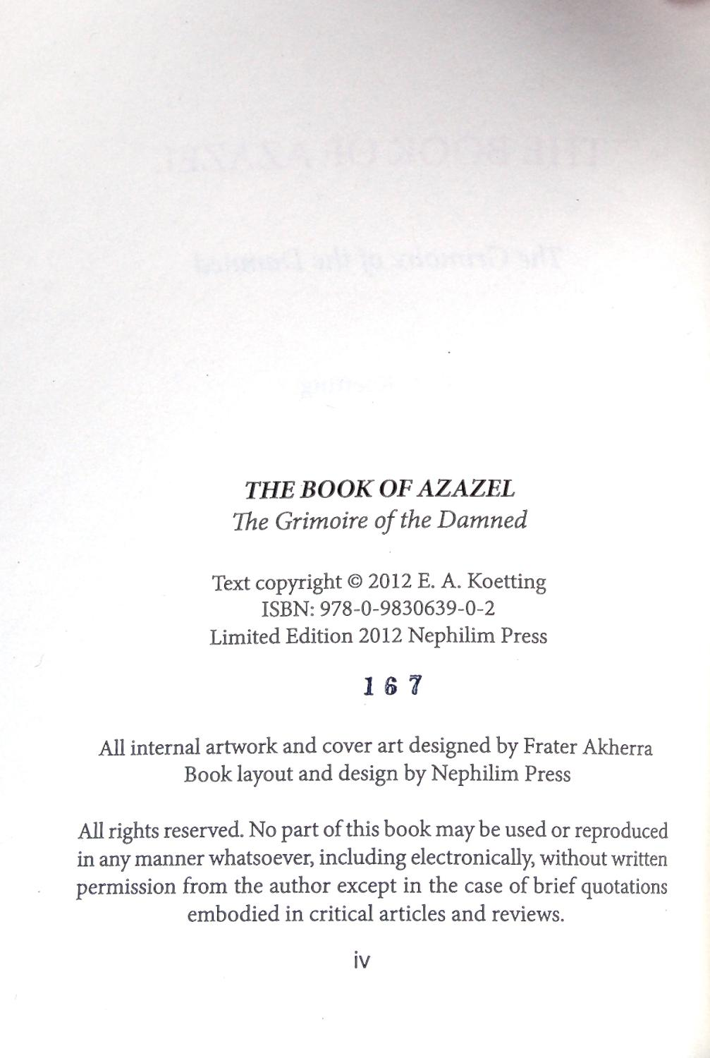The Book of Azazel, the Grimoire of the Damned by E  A