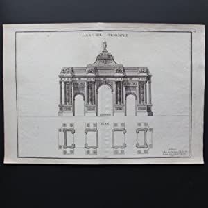 GRAVURES XVIIIe ORIGINALE * L'ARC DE TRIOMPHE, ELEVATION, PLAN *