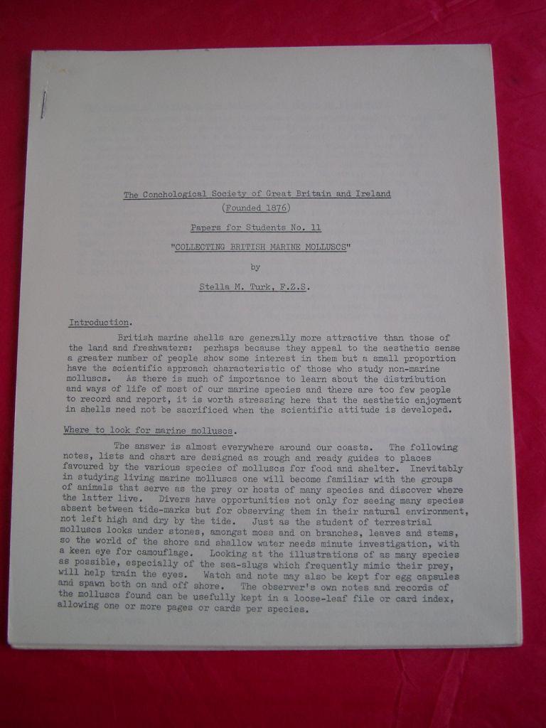 COLLECTING BRITISH MARINE MOLLUSCS Papers