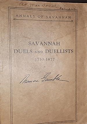 Savannah Duels and Duellists 1733 - 1877: Gamble, Thomas