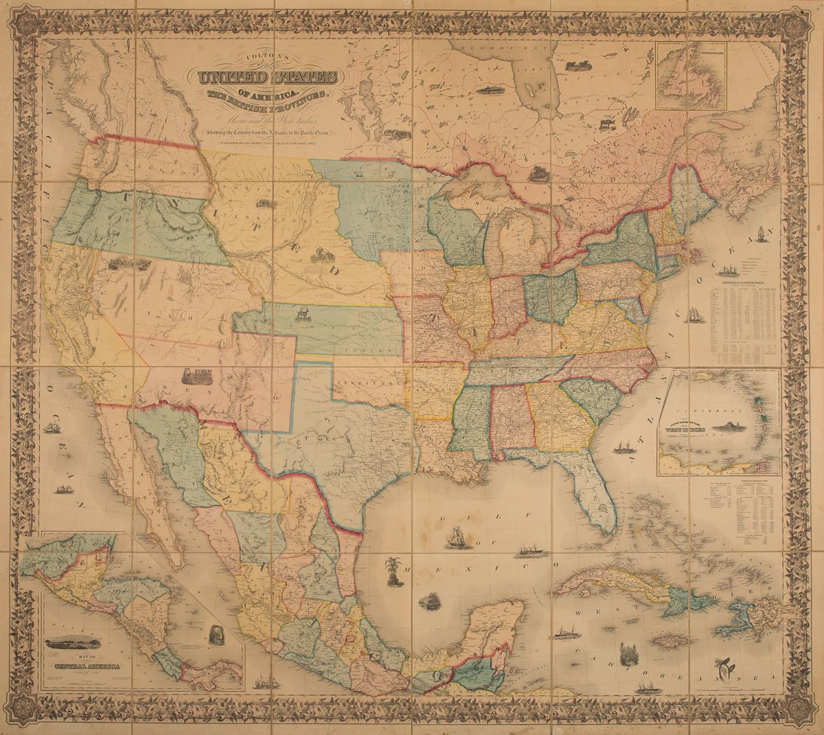 Colton S Map Of The United States Of America The British Provinces - Pacific-ocean-on-us-map