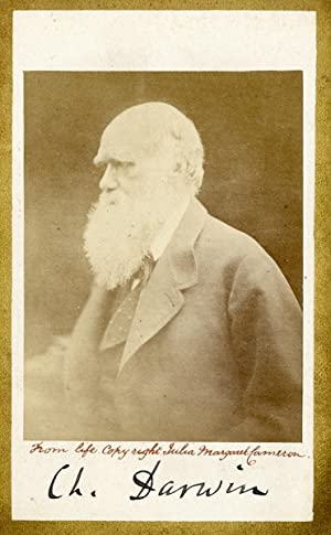 Portrait of Charles Darwin, signed by Darwin: DARWIN, CHARLES.) CAMERON,