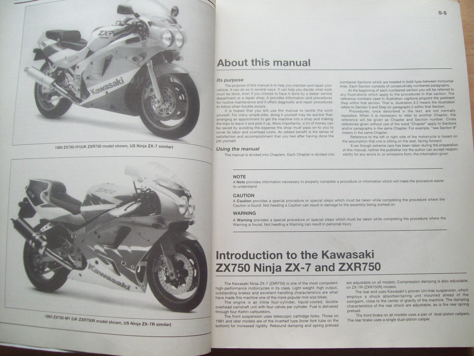 Kawasaki ZX750 (Ninja ZX-7 & ZXR750) Fours ... on