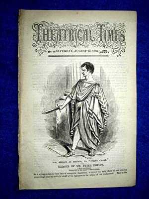 Theatrical Times, No 11. August 15 1846. Lead Article & Picture - Memoir of Mr Peter Phelps, ...