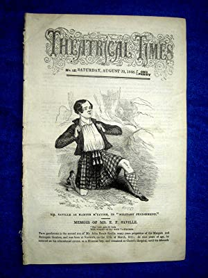 Theatrical Times, No 12. August 29 1846. Lead Article & Picture - Memoir of Mr E. F. Saville, ...