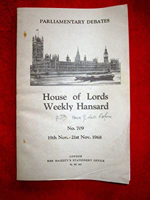 Parliamentary Debates. House of Lords Weekly Hansard. No 709. 19th - 21st November 1968. includes ...