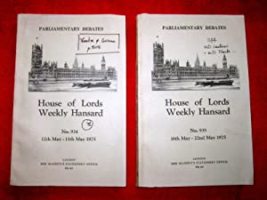 Parliamentary Debates. House of Lords Weekly Hansard. No 934,935 of 1975. Price is Per Issue.: ...