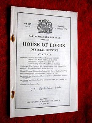 Parliamentary Debates. Hansard. House of Lords Official: Hansard.