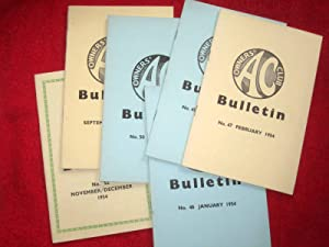 AC Owners Club Bulletin, 1954, Incomplete run January to December, Nos 46 to 52.missing No 48. ACOC...