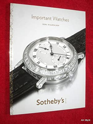 Important Watches, Doha, 19 March 2009. D09002. Sotheby's Auction Sale Catalogue. + Separate ...
