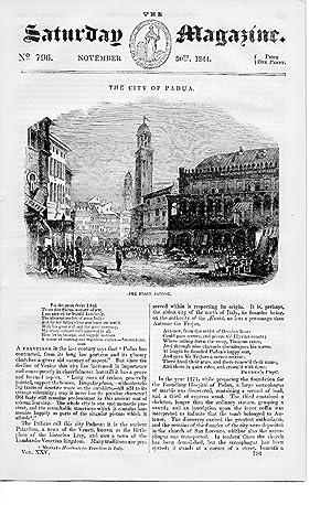 The Saturday Magazine No 796 November 1844 including The CITY of PADUA Italy ( Padova.), +Sketches ...