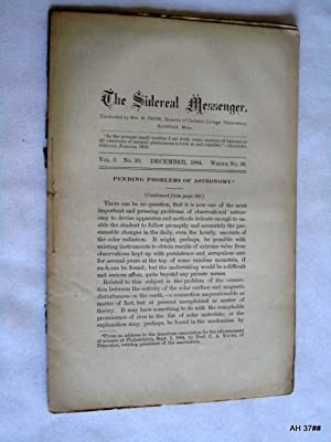 The Sidereal Messenger. Vol 3. No 10. December 1884. (A Monthly Review of Astronomy.): Payne, ...