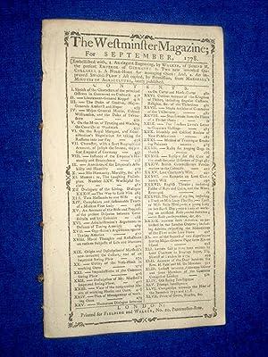 The Westminster Magazine. September 1778: Fielding & Walker.