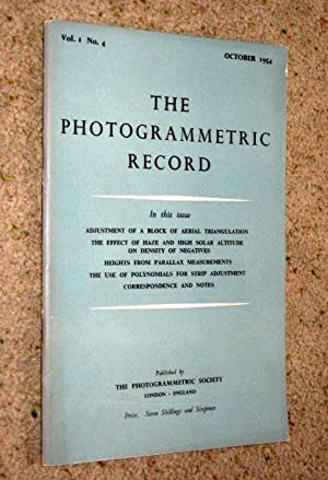 The Photogrammetric Record, The Official Journal of Photogrammetry Society. Vol 1 No 4 October 1954...