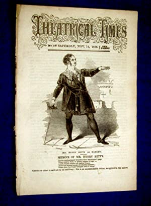 Theatrical Times, Weekly Magazine. No 23. November 14, 1846. Lead Article & Picture - Memoir of...