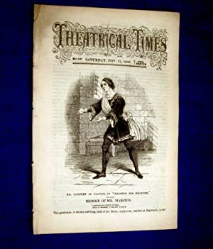 Theatrical Times, Weekly Magazine. No 24. November 21, 1846. Lead Article & Picture - Memoir of...