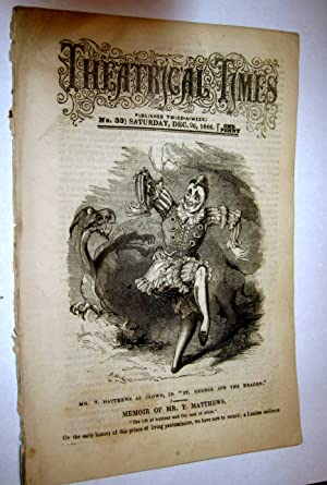 Theatrical Times, Weekly Magazine. No 33. December 26, 1846. Lead Article & Picture - Memoir of...
