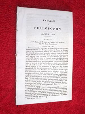 ANNALS of PHILOSOPHY, March 1825. includes Life & Writings of Claude-Louis Berthollet, Climate ...
