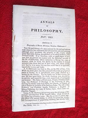 ANNALS of PHILOSOPHY, May 1825. includes, Biog of Baron Edelcrantz, Portavble Hydrometer, Light &...