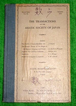 TRANSACTIONS of The ASIATIC SOCIETY of JAPAN. Second Series Vol III Dec 1926.