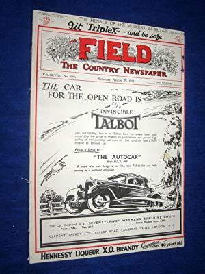 The Field, The Country Newspaper, 29 August 1931, Magazine. (The Invincible Talbot Car cover. ...