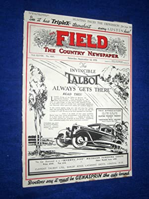 The Field, The Country Newspaper, 12 Sept 1931, Magazine. (The Invincible Talbot Car cover. ...