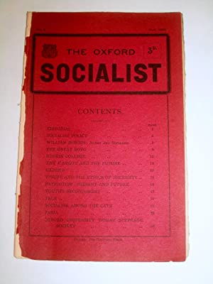 The Oxford Socialist, No I, Nov 1908.: Edited by F.K.G. and G.D.H.C. ( George Douglas Howard Cole.)