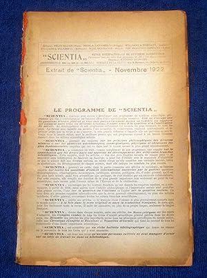 Scientia, Revue Internationale De Synthese Scientifique, Extrait Dr Scientia, Novembre 1922. La ...