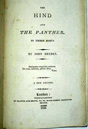 The Hind and the Panther in Three Parts.: Dryden, John.