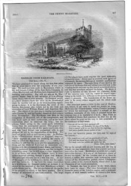 PM 784. The PENNY MAGAZINE 1844 ( The LEA (pt 5 of Rambles from Railways) inc BROXBOURNE, CHESHUNT,...