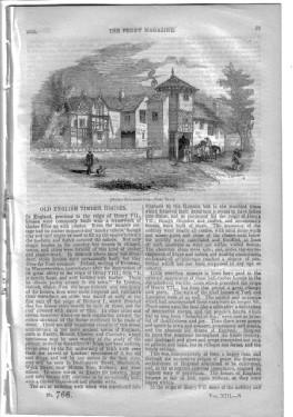 PM 766. The PENNY MAGAZINE 1844 (OLD ENGLISH TIMBER HOUSES,+ BARBERS & SURGEONS (pt 1 continued...