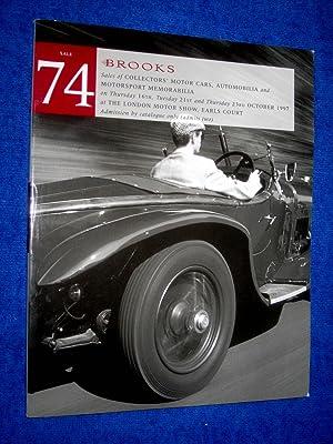 A Sale of Collectors Motor Cars, Automobilia, and Motorsport Memorabilia, 16th, 21st, 23rd October ...