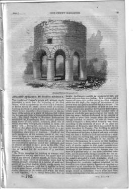 PM 762. The PENNY MAGAZINE 1844 (ANCIENT TOWER AT NEWPORT Rhode Island USA,+ Source & Useage of...