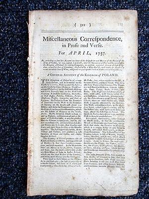 Miscellaneous Correspondence in Prose and Verse. April 1757. (Poland.): Benjamin Martin.